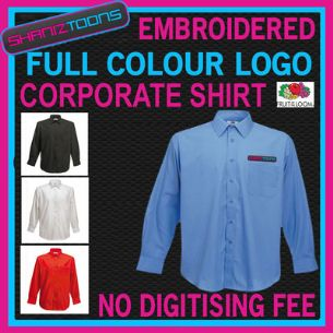 X10 WORKWEAR BUSINESS LONG SLEEVED SHIRT EMBROIDERED COLOUR  DIGITISED LOGO